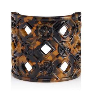 TORY BURCH • Perforated Resin Cuff In Tortoise
